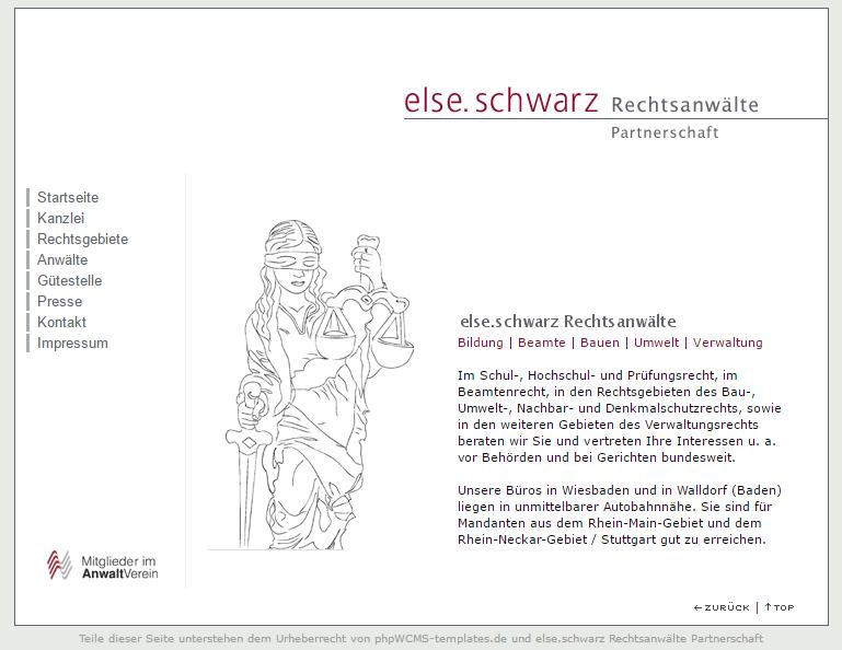 Webseite else.schwarz im Jahr 2007