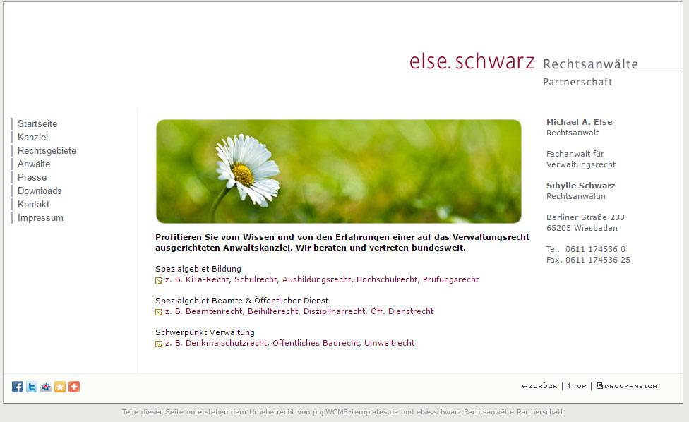 Webseite else.schwarz im Jahr 2010