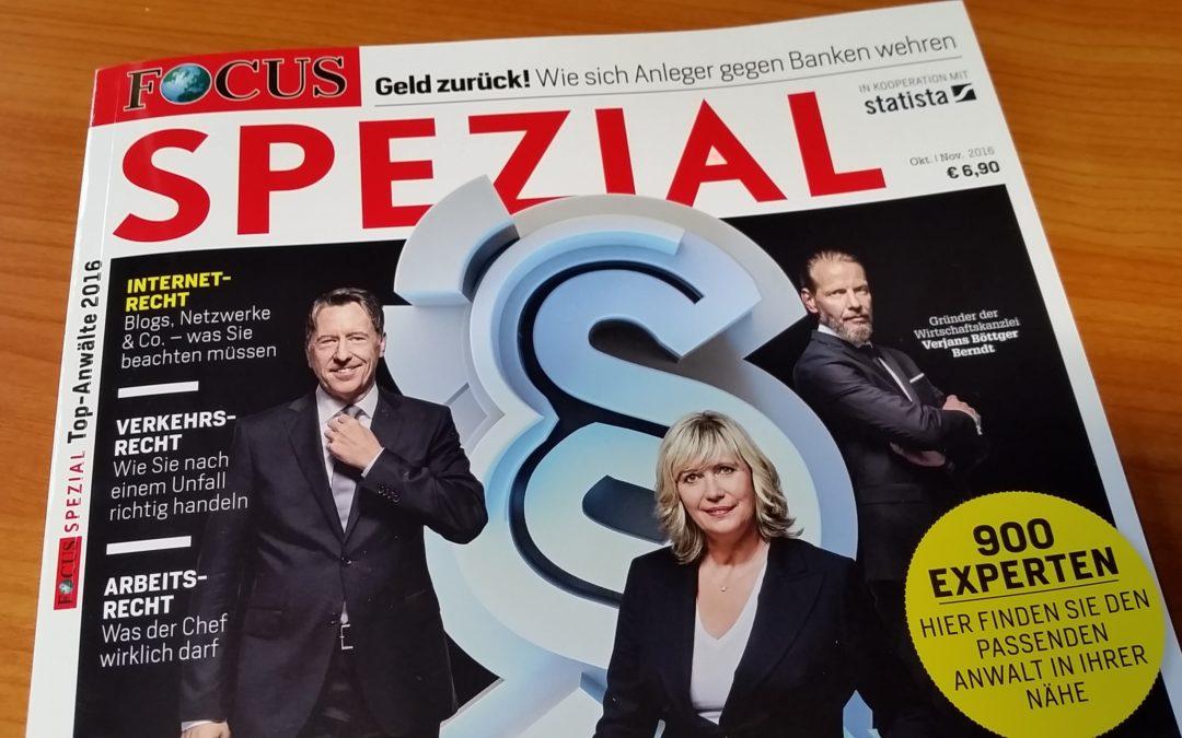 Sibylle Schwarz in: Focus Spezial Top-Anwälte 2016