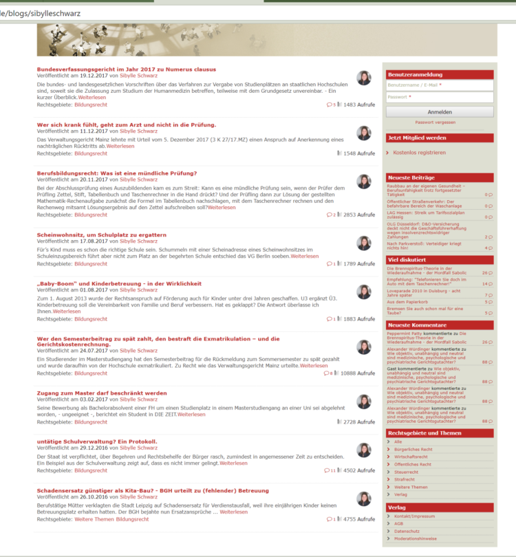 Screenshot des Blog Bildungsrecht 2016-2017