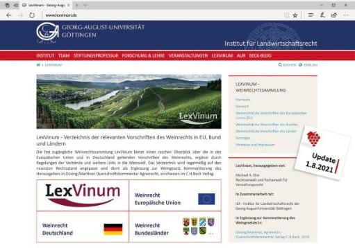 LexVinum (online) Verzeichnis der relevanten Vorschriften des Weinrechts